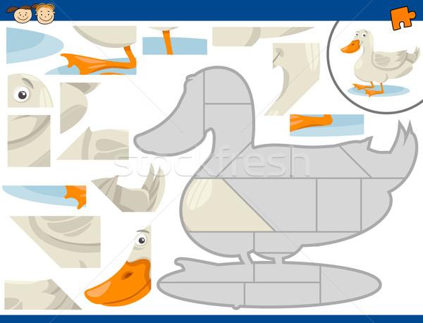cartoon duck jigsaw puzzle task Stock photo © izakowski