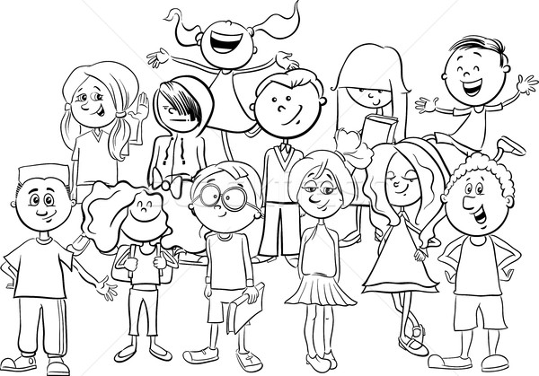 kids or teens coloring page vector illustration © Igor ...