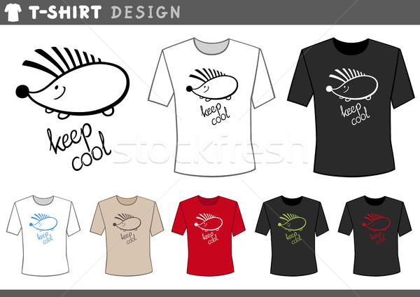 дизайна еж иллюстрация футболки дизайн шаблона Сток-фото © izakowski