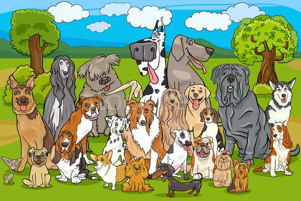 Foto stock: Cães · grupo · desenho · animado · ilustração