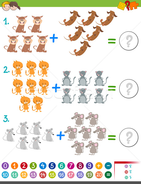 addition maths activity for kids Stock photo © izakowski
