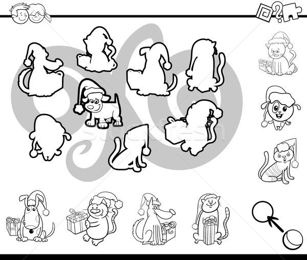 Wedstrijd silhouetten activiteit pagina zwart wit cartoon Stockfoto © izakowski