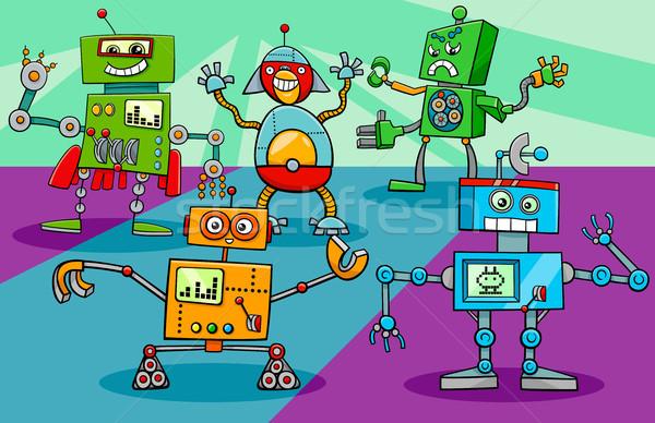 Stock photo: dancing robot characters group cartoon