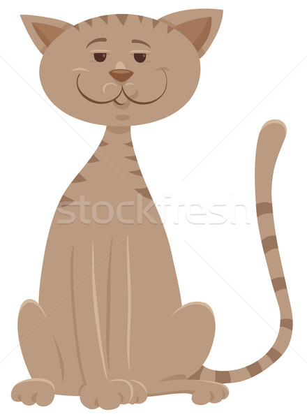 funny beige cat cartoon animal character Stock photo © izakowski