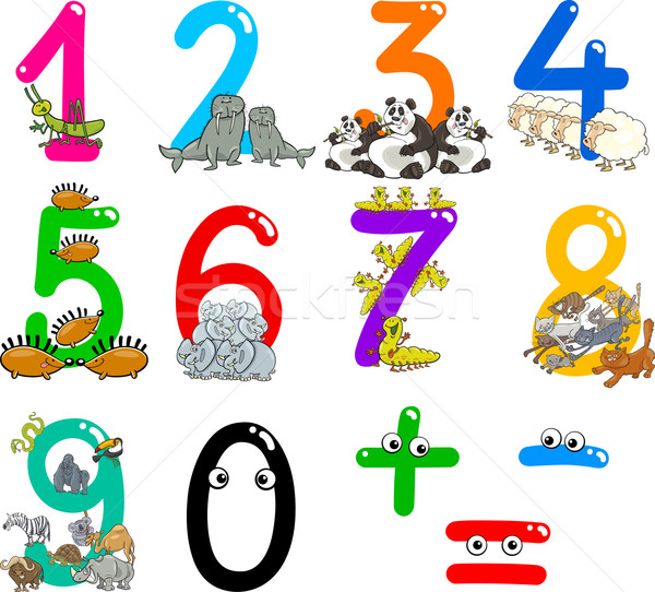 numbers with cartoon animals Stock photo © izakowski