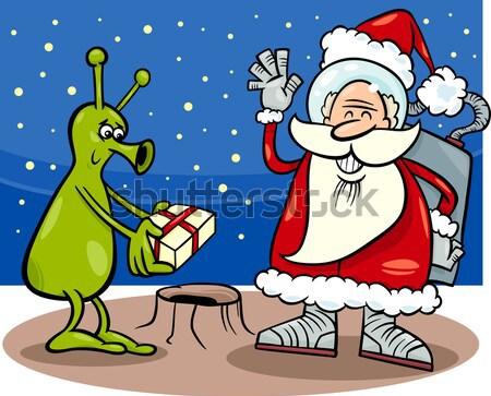 Mikulás rajz karácsony illusztráció rosszakaratú vicces Stock fotó © izakowski