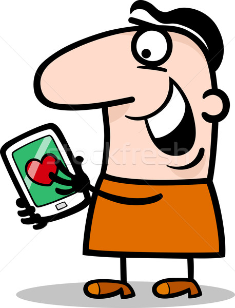 man with love message on tablet cartoon Stock photo © izakowski