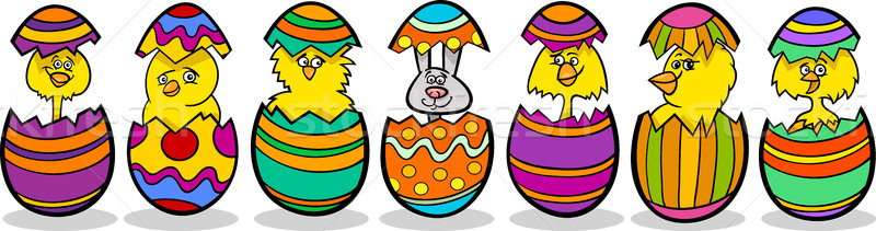 chickens in easter eggs cartoon illustration Stock photo © izakowski