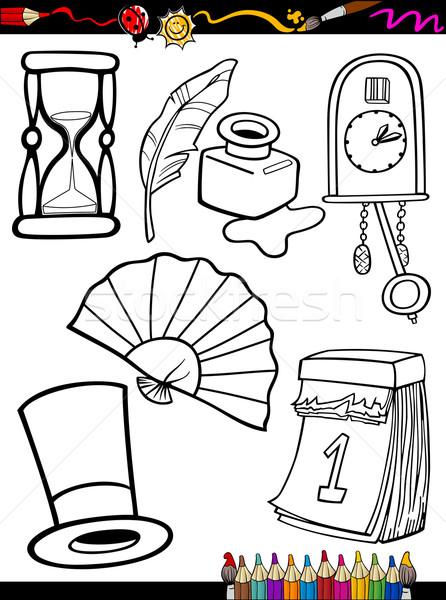 Cartoon retro objecten pagina kleurboek illustratie Stockfoto © izakowski