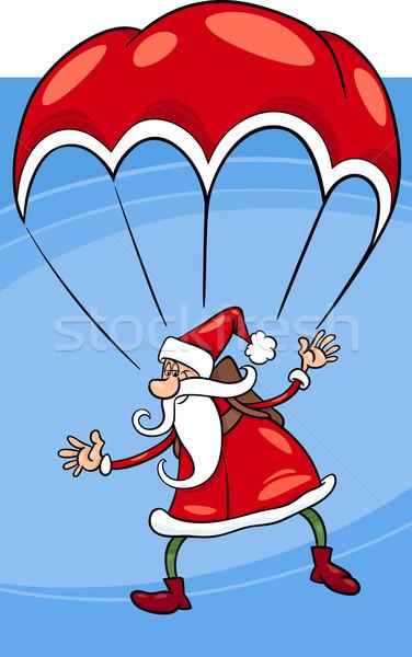 парашютом Cartoon иллюстрация смешные Дед Мороз Сток-фото © izakowski