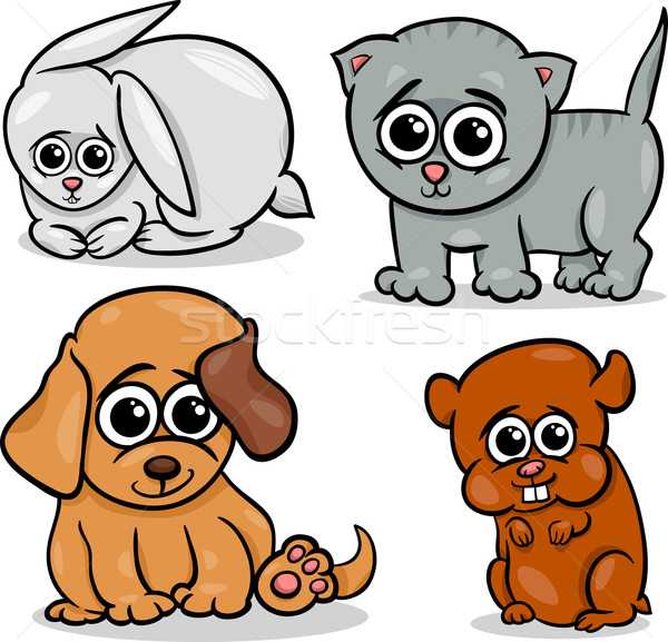 cartoon cute pets animals set Stock photo © izakowski