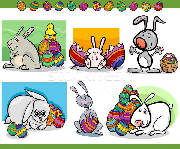 Húsvét témák szett rajz illusztráció kellemes húsvétot Stock fotó © izakowski