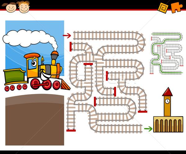 Rajz labirintus labirintus játék illusztráció oktatás Stock fotó © izakowski