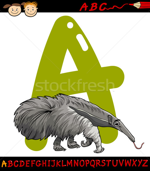 letter a for anteater cartoon illustration Stock photo © izakowski