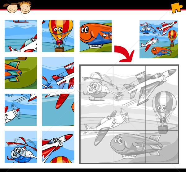 cartoon aircraft jigsaw puzzle game Stock photo © izakowski