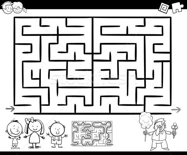 Labirinto labirinto gioco pagina cartoon illustrazione Foto d'archivio © izakowski