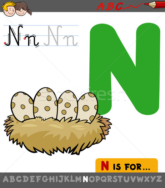 letter n with cartoon bird nest Stock photo © izakowski
