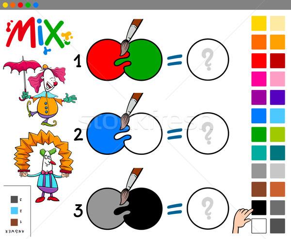 mix colors educational cartoon game Stock photo © izakowski