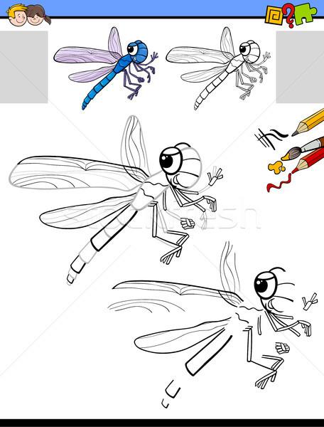 Tekening activiteit libel cartoon illustratie onderwijs Stockfoto © izakowski