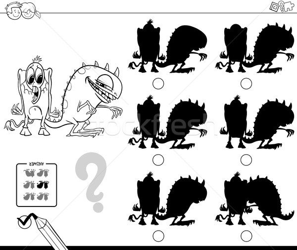 shadows game with monsters color book Stock photo © izakowski