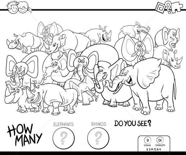 Elefantes jogo cor livro preto e branco desenho animado Foto stock © izakowski