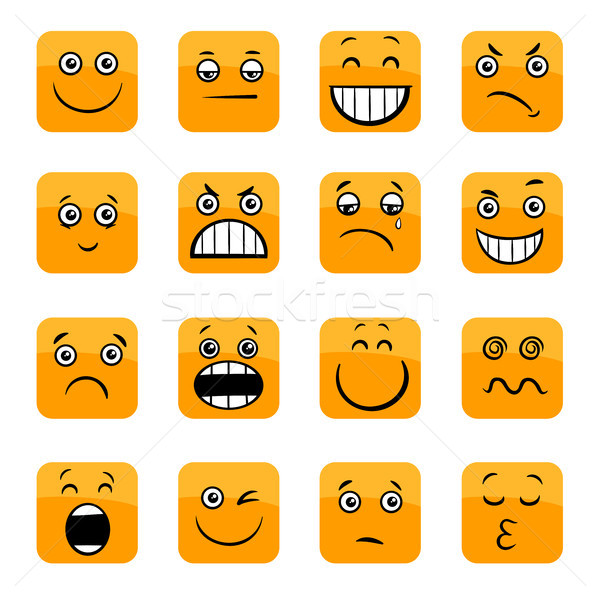 cartoon emoticons or facial emotions set Stock photo © izakowski