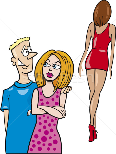 Kıskanç kadın karikatür örnek erkek arkadaş bakıyor Stok fotoğraf © izakowski