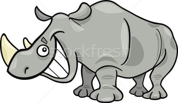 Neushoorn cartoon illustratie grappig afrikaanse natuur Stockfoto © izakowski