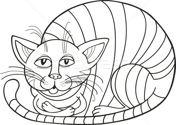 Sleepy Cat for coloring book Stock photo © izakowski