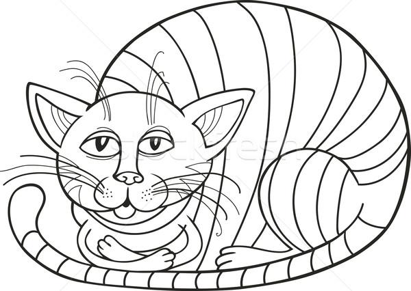 álmos macska kifestőkönyv művészet fekete vicces Stock fotó © izakowski