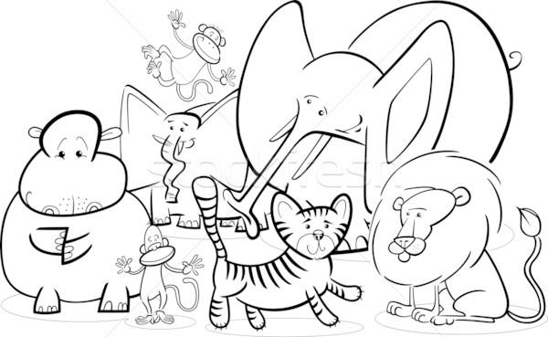 Afrikaanse safari dieren cartoon zwart wit illustratie cute Stockfoto © izakowski