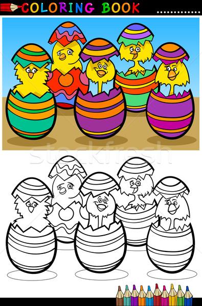 cartoon chicks in easter eggs coloring page Stock photo © izakowski