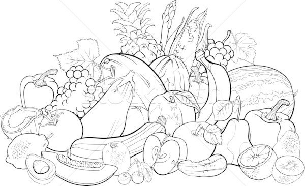 Fruits And Vegetables For Coloring Book Vector Illustration C Igor Zakowski Izakowski 3018708