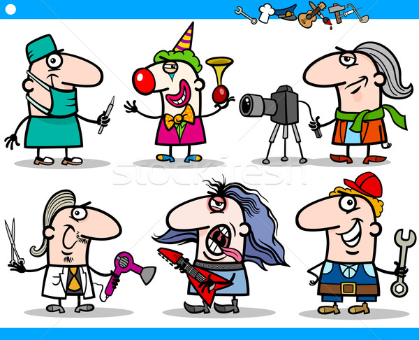 cartoon people occupations characters set Stock photo © izakowski