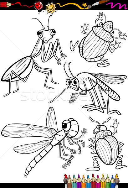 Rajz rovarok szett kifestőkönyv oldal illusztráció Stock fotó © izakowski