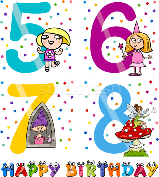 birthday cartoon design for girl Stock photo © izakowski