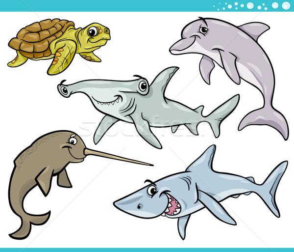 sea life animals set cartoon illustration Stock photo © izakowski