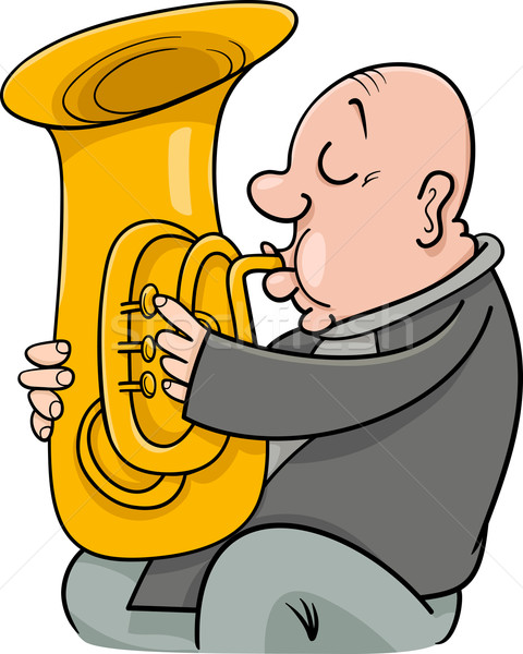 trumpeter musician cartoon illustration Stock photo © izakowski