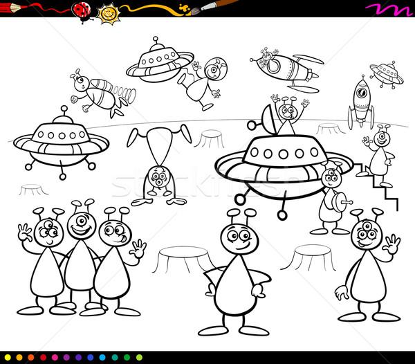 aliens cartoon coloring book Stock photo © izakowski