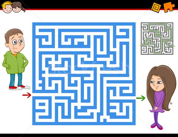Labirintus labirintus tevékenység játék rajz illusztráció Stock fotó © izakowski