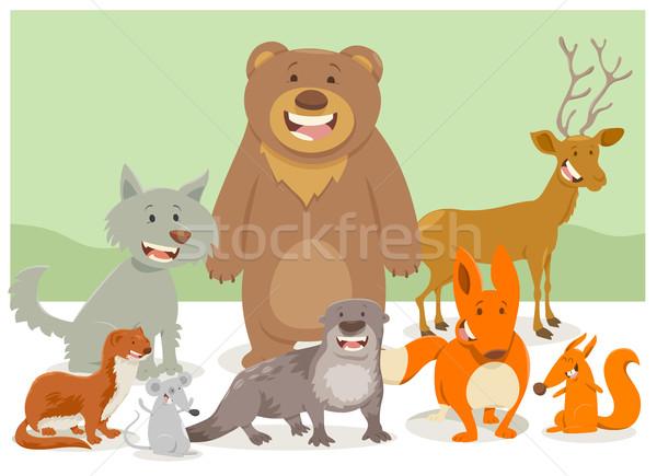 Wildes Tier Zeichen Gruppe Karikatur Illustration funny Stock foto © izakowski