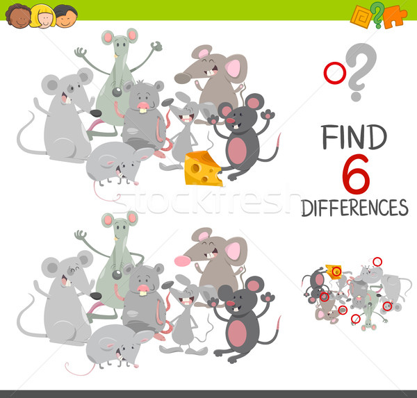 Différences jeu souris cartoon illustration place Photo stock © izakowski