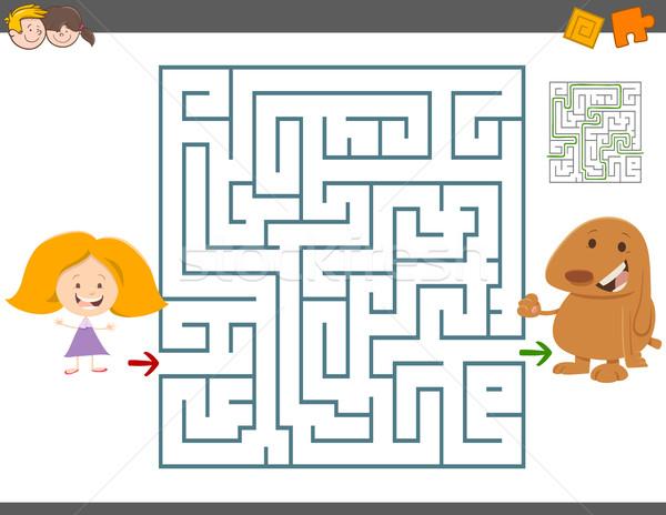 Labirinto tempo libero gioco cartoon illustrazione istruzione Foto d'archivio © izakowski
