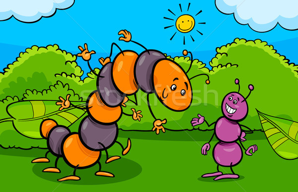 ant and caterpillar insect cartoon characters Stock photo © izakowski