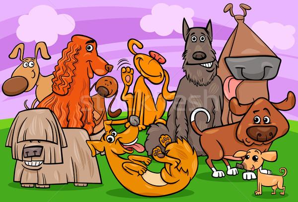 Cane gruppo cartoon illustrazione cute Foto d'archivio © izakowski