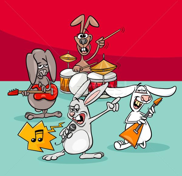 Кролики рок Музыканты группы Cartoon иллюстрация Сток-фото © izakowski