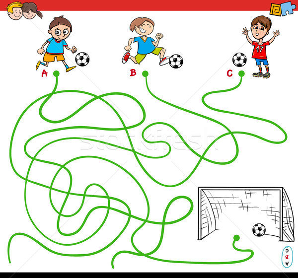 paths maze game with kid and soccer sport Stock photo © izakowski