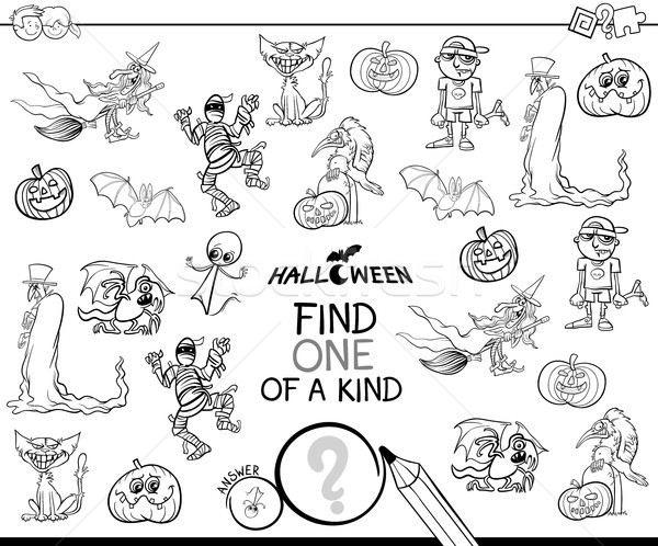 one of a kind with Halloween characterss color book Stock photo © izakowski
