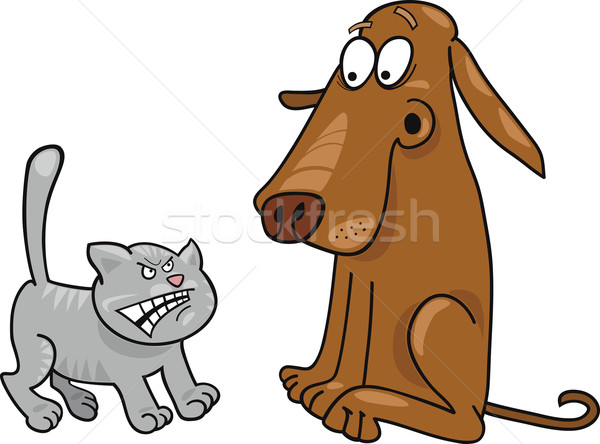 Kitten hond cartoon illustratie boos grappig Stockfoto © izakowski