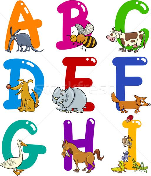 Rajz ábécé állatok színes szett vicces Stock fotó © izakowski